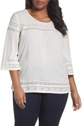 Sejour Plus Size Women's Lace Inset Top