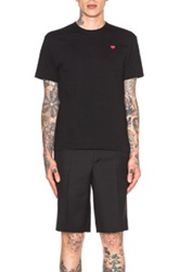 Comme Des Garcons Play Small Red Emblem Cotton Tee In Black