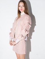 Pixie Market Pink Suede Bow Bomber Jacket