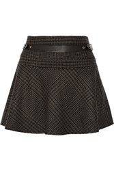 Belstaff Aldford Checked Wool And Angora Blend Mini Skirt Brown