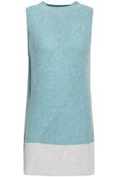 Duffy Two Tone Ribbed Cashmere Tunic Sky Blue