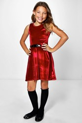 Boohoo Velvet Belted Skater Skirt Red