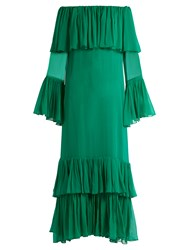 By. Bonnie Young Off The Shoulder Tiered Silk Chiffon Gown Green