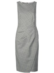 Narciso Rodriguez Checkered Fitted Dress Grey