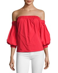 Milly Off The Shoulder Cotton Poplin Blouse Red
