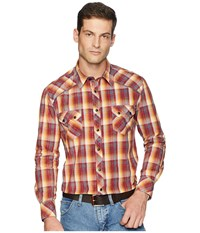 Rock And Roll Cowboy Long Sleeve Snap Plaid B2s6035 Coral Clothing