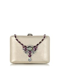 Rodo Laminated Suede Collier Clutch W Crystals Gold