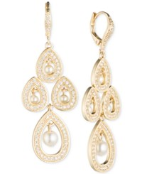 Anne Klein Imitation Pearl And Pave Chandelier Earrings Gold
