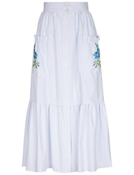 Flow The Label White And Blue Pinstripe Embroidered Midi Skirt Light Blue