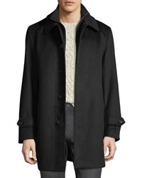 Sanyo Merled Wool Getaway Layered Topcoat Black