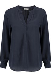 Joie Peterson Washed Silk Blouse Midnight Blue