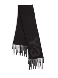 Y 3 Merino Wool And Cotton Graphic Scarf Black