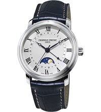 Frederique Constant Fc 330Mc4p6 Classic Moon Phase Stainless Steel And Leather Watch