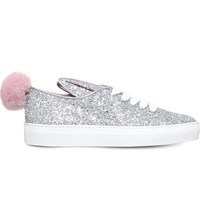 Minna Parikka Glitter Embellished Leather Trainers Silver