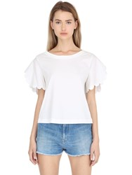 See By Chloe Scallop Sleeves Cotton T Shirt