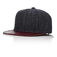 Just Don Men's Denim And Python Baseball Cap Blue