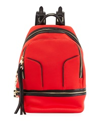 Cynthia Rowley Scuba And Leather Brody Backpack Red