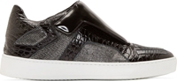 Giuliano Fujiwara Black And Silver Metallic Mesh Sneakers