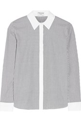 Frame Le Classic Striped Cotton Oxford Shirt Navy