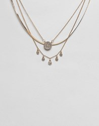 Lipsy Multirow Jewel Necklace In Gold Gold