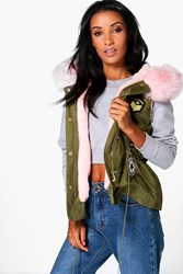 Boohoo Maisie Sleeveless Faux Fur Lined Parka Blush