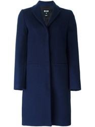 Msgm Single Breasted Mid Length Coat Blue
