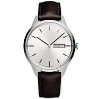Uniform Wares C40 Calendar Wristwatch Brushed Steel And Brown Leather