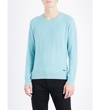 Burberry Cable Knit Cashmere Jumper Pale Peridot Blue