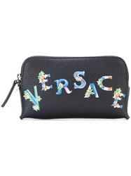 Versace Beverly Palm Print Wash Bag Leather Black