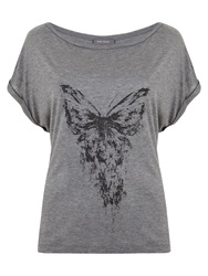 Mint Velvet Butterfly Print T Shirt Grey
