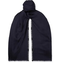 Alexander Mcqueen Logo Embroidered Cashmere And Silk Blend Jacquard Scarf Midnight Blue