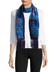 Collection 18 Peacock Print Velvet Scarf Blue