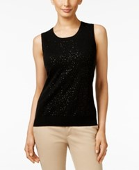 Charter Club Cashmere Sequined Shell Only At Macy's Classic Black