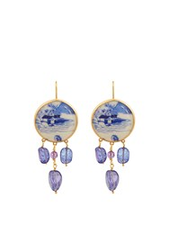 Brigid Blanco Tanzanite Amethyst And Yellow Gold Earrings Blue