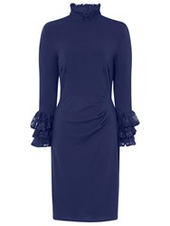 Hotsquash Clever Fabric Highneck Lace Detail Dress Navy