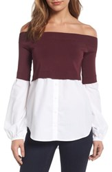 Trouve Women's Off The Shoulder Poplin Sweater Burgundy White Combo