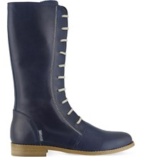 Step2wo Giselle Knee High Leather Boots Blue Leather