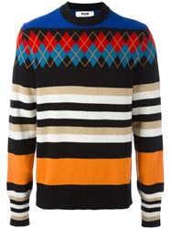 Msgm Multi Print Oversized Jumper Multicolour