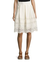 Cirana Lace Inset A Line Skirt Oatmeal