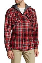 Globe Alford Contrast Hooded Plaid Shirt Red
