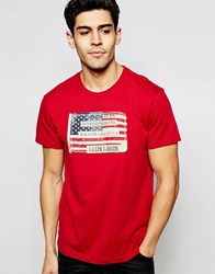 Denim And Supply Ralph Lauren T Shirt With Flag Applique Red