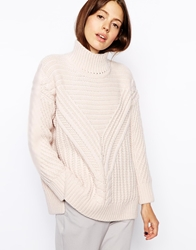 Asos Cable Jumper With Turtle Neck Pink