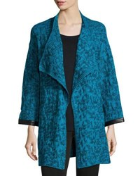 Ming Wang Shawl Collar Knit Jacket Blue Black