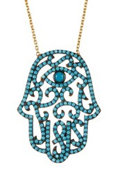 Argentovivo 18K Gold Plated Sterling Silver Cz Hamsa Pendant Necklace Blue