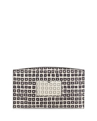 Reed Krakoff Square Print Atlantique Leather Zip Pouch Black White