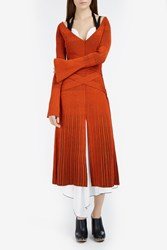 Proenza Schouler V Neck Heavyweight Ribbed Dress Orange