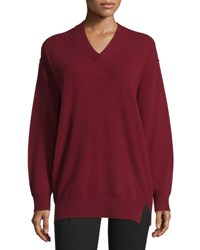Joseph Wool V Neck Pullover Sweater Oxblood