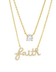 Lord And Taylor Faith Double Pendant Necklace Two Tone