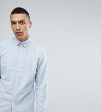 Selected Homme Slim Fit Oxford Shirt In Dot Print Blue