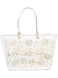 Christian Siriano Embossed Tote Bag White